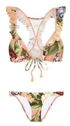 Zimmermann Elixir floral-print ruffled triangle bikini on Net-a-Porter - swimwear Bikini Sets, The Bikini, Bikini Beach, Sexy Bikini, Mode Orange, Fashion Bubbles, Triangel Bikini, Best Swimwear, Bikini Swimwear