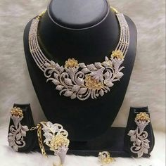 Necklaces – Page 11 – Finest Jewelry Fancy Jewellery, Gold Jewellery Design, Trendy Jewelry, Luxury Jewelry, Fashion Jewelry, Designer Jewellery, Indian Wedding Jewelry, Indian Jewelry, Diamond Necklace Set