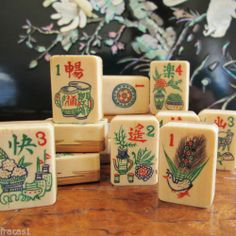 Vtg 1920s Fancy Carved Thick Bone Bamboo 152 Tiles Mahjong Set Lacquer Box | eBay