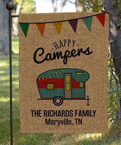 Burlap 'Happy Camper' Personalized Garden Flag