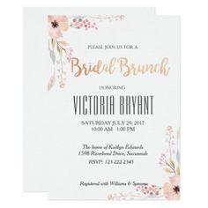 #pretty - #Beautiful Floral Bridal Brunch Invitation