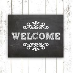Chalkboard Art Print - 11x14 Inch Printable Welcome Sign - Instant Download Welcome Chalkboard Home Decor: