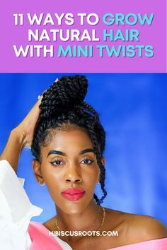 How to grow natural hair with mini twists as a protective style! img: @curliecrys Natural Hair Twists, How To Grow Natural Hair, Natural Hair Styles, Long Hair Styles, Hair Tuck, Hair A, Your Hair, Protective Hairstyles, Diy Hairstyles