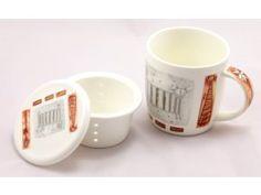 Hrnek porc. 400 ml se sítkem, stříbrná kočka Mugs, Tableware, Dinnerware, Tablewares, Mug, Place Settings