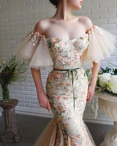 Beautiful Havana Cream Off Shoulder Mermaid Evening Dress / Evening Gown with Short Sleeves and Handmade Embroidered Field Flowers. Dress by Teuta Matoshi Elegant Dresses, Pretty Dresses, Beautiful Dresses, Prom Dresses, Formal Dresses, Flapper Dresses, Wedding Dresses, Strapless Dress, Bridesmaid Dresses