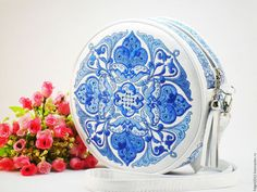 Handbags handmade. Livemaster - handmade. Buy 'Sudarushka' leather embroidered bag.Snowflake, round carrying bag, winter patterns