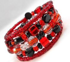 Red and Black Bracelet Stack Red and Black Jewelry for Teens and Women Arm Candy Set Gothic Jewelry Trendy Jewelry Beaded Wrap Bracelet by foreverandrea on Etsy