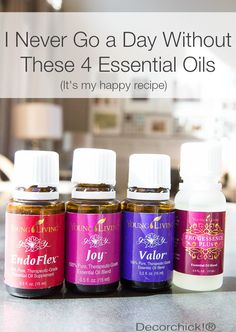 """Daily Oil Regimen - EndoFlex, Joy, Valor, and Progessence Plus by Young Living. 