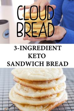 This easy recipe for cloud bread is simple made with just 3 ingredients! The ultimate keto bread for your sandwich needs! This easy recipe for cloud bread is simple made with just 3 ingredients! The ultimate keto bread for your sandwich needs! Low Calorie Bread, Low Calorie Snacks, No Calorie Foods, Low Calorie Recipes, Low Carb Keto, Keto Recipes, Healthy Recipes, Paleo Meals, Paleo Food