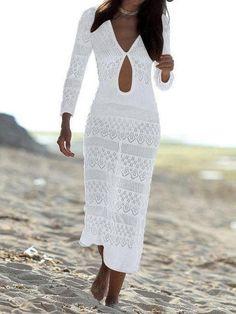 c12a12b3 Openwork Shoulder Beach Sexy Blouse Long dress