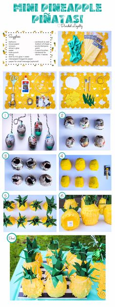 | Mini Pineapple Piñatas!!! Here's a quick visual step by step I created for these super cute piñatas! If you visit my website the steps are explained in more clarity with a few more pictures included. Have fun creating these! Feel free to tag me here or on Instagram so that I can see all your creations! Love: Divided Loyalty | Pineapple. Pineapple piñata. Pineapple piñatas. Party. Party decor. Pineapple theme. Yellow. Summer. Fun. Cute. Pineapple decor.