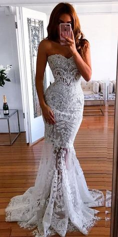 Prom Dresses Simple, Mermaid sweetheart long wedding dresses with appliques bridal gowns, A long dress makes an elegant statement at any formal event whether it is prom, a formal dance, or wedding. Long Wedding Dresses, Cheap Wedding Dress, Bridal Dresses, Wedding Gowns, Prom Dresses, Lace Wedding, Wedding Bride, Spring Wedding, Long Dresses