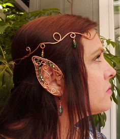 Celtic Copper Elven Headpiece Crown, Renaissance Medieval Headdress with Matching Wire Elvin Ear Cuff and Dangle Earrings by MistyBlueDesigns on Etsy