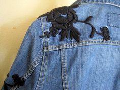 Denim Jacket Black Embroidered Jean Coat by VintagObsessions