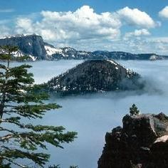 Crater Lake, Oregon in fog. For more about this amazing volcanic feature and Crater Lake National Park, see: http://www.infobarrel.com/Oregons_Magnificent_Crater_Lake_National_Park