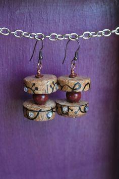 Pendenti - Orecchini etnici di sughero riciclato con strass - un prodotto unico di SelzArz su DaWanda