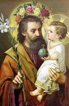 Saint Joseph and Baby Jesus Catholic Prayers, Catholic Saints, Catholic Art, Religious Art, Roman Catholic, Religious Pictures, Jesus Pictures, St Joseph Prayer, Saint Joseph