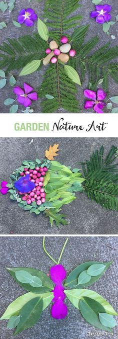 Garden Nature Art – an outdoor process art activity for kids Create nature art using items collected from your garden. This is a fun, free process art activity for kids which encourages them to get outside and use their imaginations. Nature Activities, Outdoor Activities For Kids, Outdoor Learning, Flower Activities For Kids, Therapy Activities, Kids Crafts, Summer Crafts, Projects For Kids, Art Projects