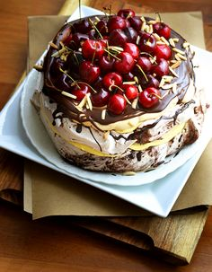 Cherry-Topped Tiramisu Pavlova.