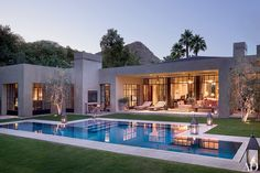 "The vision for this Rancho Mirage, California, property, says Ron Radziner of the architecture firm Marmol Radziner, ""was to create a strong and engaging modern structure that would be at peace with the harsh desert environment."" Mia Lehrer + Associates handled the landscaping."