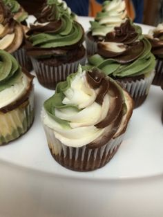 How to have a Gritty Bowmen Birthday Party. Step 1: Let them eat cake! Camo Cake. …and Camo Cupcakes! First, take a pound of b...