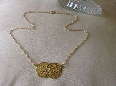 SUMMER SALE Celebrity Style Double//2//Two Gold Tone Half Penny Coin Necklace 18""
