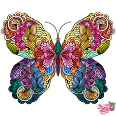 I think these butterfly pictures are so beautiful, I love the colors that were chosen (since these are from Happy Color, a color by number app), and the way the patterns in the butterflies flow. Butterfly Mandala, Butterfly Drawing, Butterfly Painting, Butterfly Wallpaper, Star Coloring Pages, Coloring Book Art, Mandala Coloring, Coloring Tips, Doodle Art Drawing