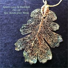 Real Leaves Jewelry, Oak Leaf Pendant Necklace, new AUTUMN GREEN Patina over 24K gold. $13.95, via Etsy.