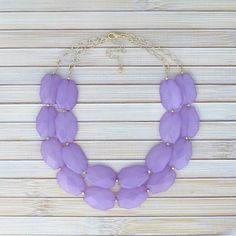 Lavender Double Strand Beaded Necklace, Lilac Statement Necklace with Two Chain Layers, Layered Fashion Light Purple Jewelry Chunky Necklace
