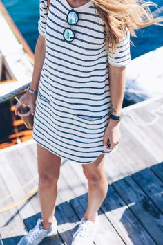 striped shift dress and sneakers