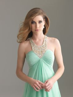 love the jewelry neckline and the hair, really pretty<3-- Maid of honor dress? yesss.