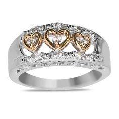 Ebay NissoniJewelry presents - Ladies' 1/5CT Diamond Two Tone Heart Fashion Ring in 14k White and Rose Gold    Model Number:FR6015D-K477    http://www.ebay.com/itm/Ladies-1-5CT-Diamond-Two-Tone-Heart-Fashion-Ring-in-14k-White-and-Rose-Gold/221630577824