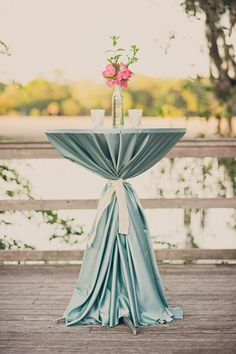 cute way to set up some bar tables either inside hall for rain or out by ceremony deck