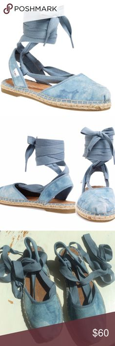 """NWOT TOMS Bella Espradille Sandal BlueWashed Suede Brand new fantastic skyway print washed suede ankle wrap flat sandal with almond toe, elastic strap at back for comfort, woven details,& soft removable ankle straps. Suede upper, rubber outsole, 1""""heel, 3/4"""" platform TOMS Shoes Sandals"""