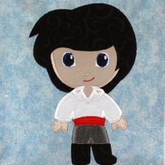 Boy Mermaid Prince Little Cutie Machine Applique Embroidery Design, multiple sizes, including 4 inch