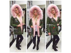 Khaki PARKA s růžovým kožíškem a nášivkami, SKLADEM - Bestmoda - winter parkas with pink fur