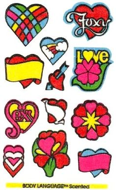Hearts and Flowers Mello Smello Body Language scratch and sniff sticker tattoos - 1980's
