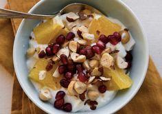 greek yogurt, poms, oranges