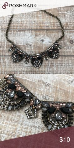 Pink Black Rhinestone Statement Necklace Super cute, worn twice Jewelry Necklaces