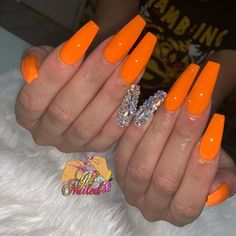 Perfect orange by 🍑🍑 Acrylic Nail Designs Glitter, Bling Acrylic Nails, Orange Acrylic Nails, Natural Acrylic Nails, French Acrylic Nails, Summer Acrylic Nails, Best Acrylic Nails, Clear Acrylic, Dope Nails