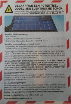 Veiligheidswaarschuwing zonnepanelen