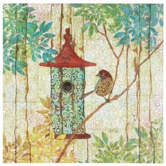 Birdhouse Art - Teal  The charm of a birdhouse is timeless—a little home into which a wild creature voluntarily settles, bringing color and song into our lives. This teal-themed, hand-painted artwork superimposes classic wood-cut motifs onto patterned textile backgrounds to create a fantasy world where birds flit and perch, concerned only to strike the prettiest pose. And then hold indefinitely.