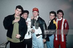 Photo of NEW KIDS ON THE BLOCK and Joey McINTYRE and Donnie WAHLBERG and Jonathan KNIGHT and Jordan KNIGHT and Danny WOOD; Posed group portrait L-R Jordan Knight, Danny Wood, Donnie Wahlberg, Joey McIntyre and Jonathan Knight