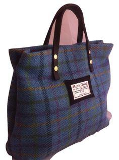 fbc6758eda0 ladies Harris tweed tartan blue turquoise handbag purse tote gift for her  girl woman valentine bridesmaid corporate wool plaid Scotland