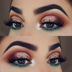 23 Glam Makeup Ideas for Christmas: #2. FESTIVE GOLD AND GREEN; #christmas; #makeup #makeupideaseyeliner