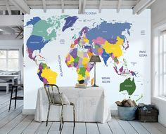 Contemporary grey world map wallpaper mural wallpaper mural at world map wallpaper map wall decal art study room ocean wall paper aqua blue wall murals gumiabroncs Image collections