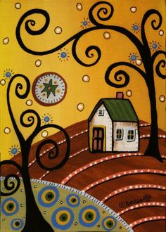 Green Roof 5x7inch ORIGINAL Canvas Panel PAINTING FOLK ART landscape Karla G #FolkArtAbstractPrimitive