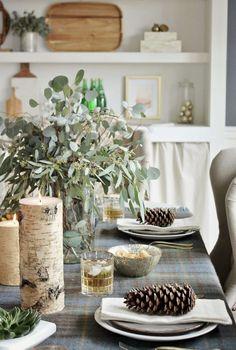 Christmas Table Scape, Rustic Christmas, Natural Christmas, Table Theme, Christmas Theme, Pinecone, Place Setting