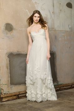 Empire gown with handbeaded lace on the neckline and hem.   #WTOO #Watters #weddingdress http://www.pinterest.com/wattersdesigns/