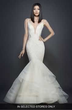 Lazaro Glitter Embellished Lace Mermaid Gown at Nordstrom.com. Showcase  those hourglass curves in 616a56e2d724
